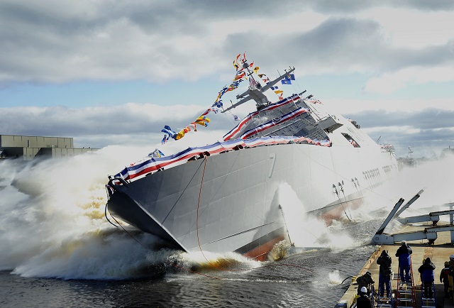 The Lockheed Martin-led industry team launched the nation's seventh Littoral Combat Ship (LCS), Detroit, into the Menominee River at the Marinette Marine Corporation (MMC) shipyard. The ship's sponsor, Mrs. Barbara Levin, christened Detroit with the traditional smashing of a champagne bottle across the ship's bow just prior to the launch.