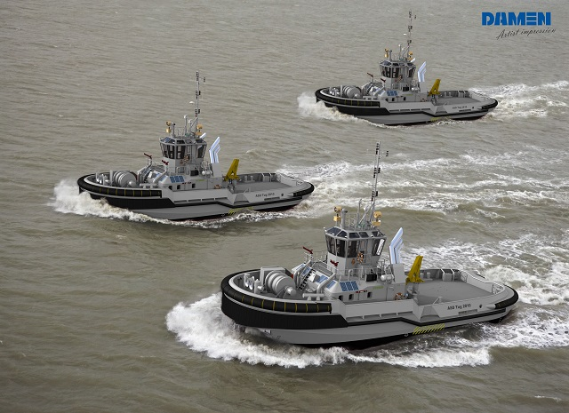 The Defence Material Organisation of the Royal Netherlands Navy (RNLN) has contracted Damen Shipyards Group for the delivery of five Harbour and Seagoing tugs. The contract has been made in cooperation with its Swedish counterpart: Swedish Försvarets Materielverk (FMV). Responding to current and future developments in emission reduction and environmentally friendly shipping, the RNLN has opted for a new Damen design: the ASD Tug 2810 Hybrid. The FMV has opted for another fit-for-purpose design: the ice-classed ASD Tug 3010 ICE.