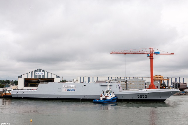 On 12 July 2014, DCNS floated the FREMM multi-mission frigate Languedoc in Lorient, France. The achievement of this industrial milestone marks an important step in the construction of the vessel. It once again underlines the industrial dynamism of DCNS: five multi-mission frigates are under simultaneous construction, at different stages of advancement.