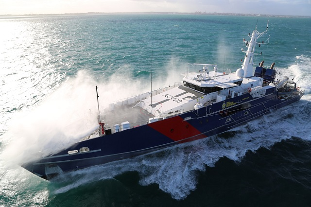 Austal Limited is pleased to announce it has delivered the second of eight Cape Class Patrol Boats being supplied to the Australian Customs and Border Protection Service under a $330 million design, build and in-service support contract. Cape Byron was delivered four weeks ahead of its original delivery date.