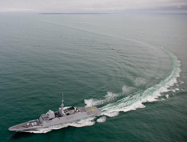 The FREMM Normandie multi-mission frigate, second of the series ordered by OCCAR on behalf of the DGA (Direction Générale de l'Armement) and the French Navy, left the DCNS site in Lorient on 14 May on its way to the DCNS site in Toulon. Over the next few weeks, DCNS will perform a new series of sea trials to test the performance of the FREMM's combat system before delivery to the French Navy at the end of 2014.