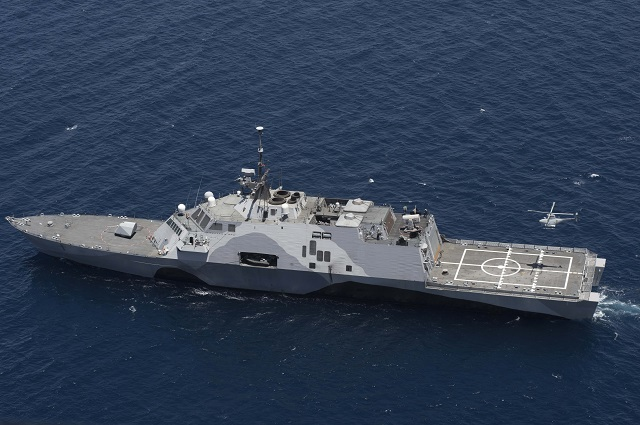 Sailors aboard USS Freedom (LCS 1) demonstrated the future concept of operations (CONOPS) for manned and unmanned helicopters aboard littoral combat ships during an underway off the coast of San Diego April 25-May 16, in preparation for an initial deployment of the aircraft later this year.