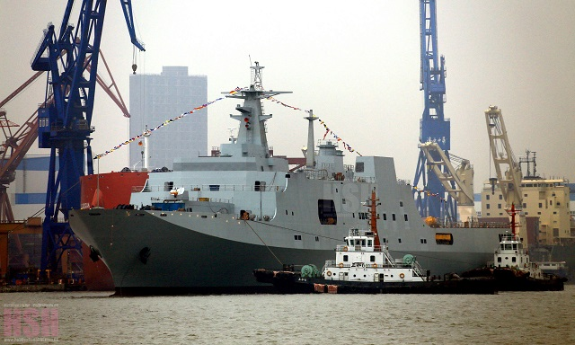 The fourth Type 071 LPD for the PLAN is launched on 22 January 2015 at Hudong shipyard in China.