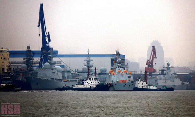 The Type 054A Frigate (right) and Type 815G ship (left) in the same picture