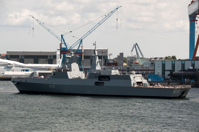 The first of two MEKO Frigates built by Germany's ThyssenKrupp Marine Systems (TKMS) in Kiel appears ready to start her first sea trials according to ship spotter pictures. The vessel, designated MEKO A-200 AN Frigate, was launched in early December 2014. Algeria ordered two frigates (with an option for two more) in March 2012. The weapons fit selected by the Algerian Navy is quite powerfull for this type of vessel.