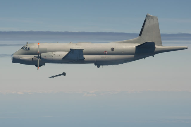 The French Navy (Marine Nationale) announced that on 18 June 2015, two Atlantique 2 (ATL2) maritime patrol crews were qualified to GBU-12 Paveway II laser guided bomb shooting procedures with self-designation. This flight marked the end of a training course which confronted crews to modern technologies used in air-to-ground support missions thanks to the Wescam MX-20D electro-optical turret fitted on ATL2 Standard V.