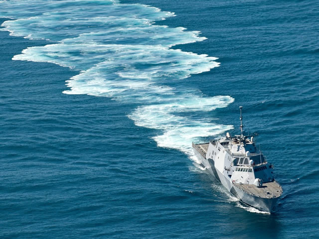 The U.S. Navy's first littoral combat ship USS Freedom (LCS 1) experienced a casualty to one of the ship's main propulsion diesel engines (MPDE) on July 11 caused by a leak from the attached seawater pump mechanical seal that resulted in seawater entering the engine lube oil system.