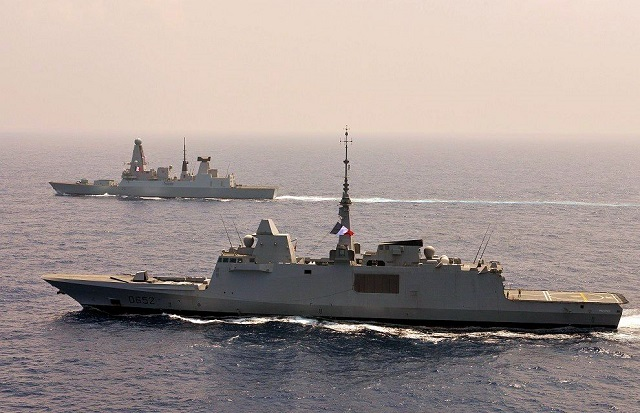 In early February 2016, the French Navy's (Marine Nationale) Aquitaine class multi-mission frigate (FREMM) Provence and the Royal Navy Daring class (Type 45) Destroyer HMS Defender sailed in formation for more than two days off Sri Lanka. Both vessels were together part of the Charles de Gaulle carrier strike group in the Gulf.
