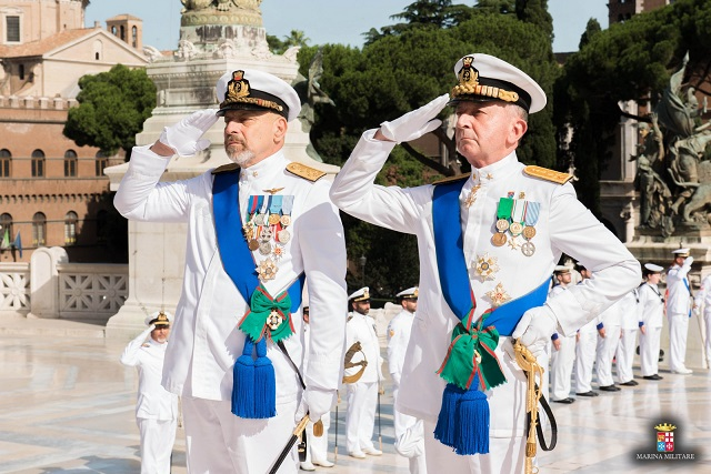 The handover/takeover ceremony took place on July 12, 2016 between Vice Admiral Giuseppe De Giorgi (outgoing) and Vice Admiral Valter Girardelli (upcoming). Following a wreath laying at the Altar of the Homeland and accompanied by the performance of the Italian Navy Band, the Chief of Navy handover ceremony was held in the presence of the Italian Defence Minister, senator Roberta Pinotti, the Defence Chief of Staff, General Claudio Graziano, the Minister of the Interior, Honorable Angelino Alfano, and top civilian and military authorities.