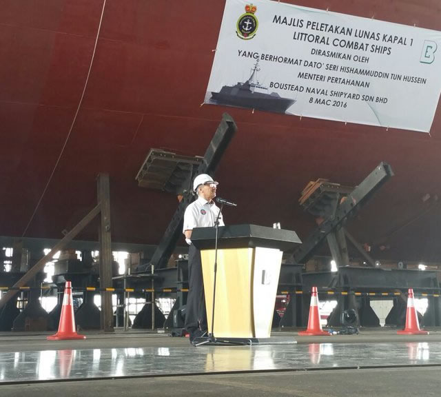 Boustead Heavy Industries Corporation Berhad (BHIC) and the Royal Malaysian Navy (RMN or Tentera Laut DiRaja Malaysia; TLDM) held today the keel laying ceremony of the first Gowind frigate Littoral Combat Ship (LCS) as part of the Second Generation Patrol Vessel (SGPV) program.