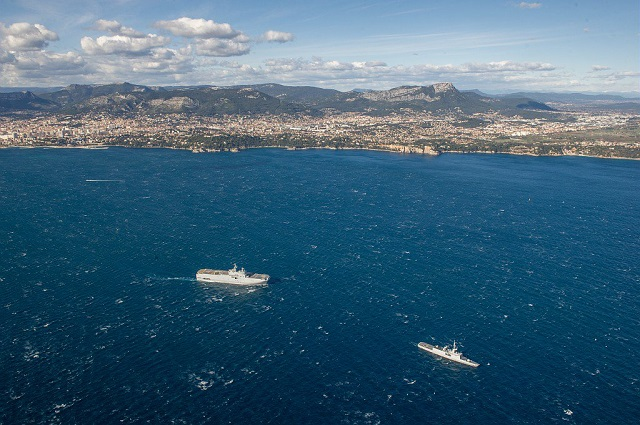 "The French Navy (Marine Nationale) 2016 ""Jeanne d'Arc Mission"" left Toulon naval base on March 3 2016. Consisting (this year) of Mistral class LHD Tonnerre and La Fayette class Frigate Guépratte, the mission will be deployed in the eastern Mediterranean, Indian Ocean, South China Sea and Australia for several months. It will host a new cohort of Navy officer cadets for instruction and exercises at sea as well as a detachment of French Army amphibous personnel."