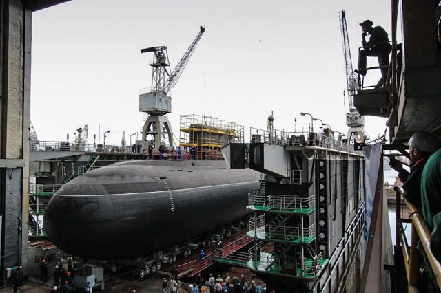 The fifth Project 636.3 (NATO reporting name: Improved Kilo) diesel-electric submarine, the Veliky Novgorod, built for the Russian Navy's Black Sea Fleet, has been set afloat by the Admiralty Wharfs Shipyard in St. Petersburg, according to a TASS reporter on site.
