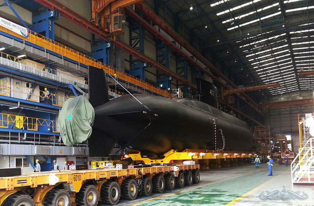 Pictures have emerged showing Indonesian Navy's (TNI AL) first Type 209/1200 Chang Bogo Class diesel electric submarine (SSK) derivative out of the construction hall at DSME (Daewoo Shipbuilding & Marine Engineering Co., Ltd) shipyard in South Korea.