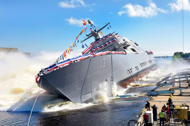 The Lockheed Martin-led industry team launched the 13th Littoral Combat Ship (LCS) into the Menominee River at the Fincantieri Marinette Marine shipyard on Sept. 17. Ship sponsor, Kate Lehrer, christened LCS 13, the future USS Wichita, in Navy tradition by breaking a champagne bottle across the ship's bow just prior to the launch.