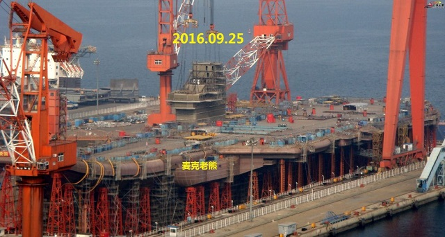 Spotters photos taken in Dalian yesterday show that the second Chinese aircraft carrier, the Type 001A, has received its island. This is another step towards the lauch of the vessel expected to happen by early 2017.