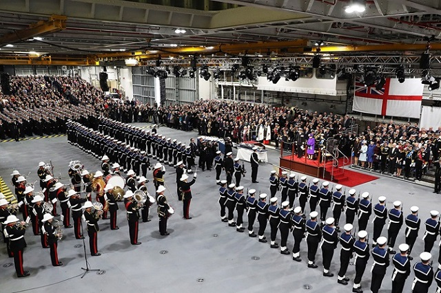 Her Majesty The Queen welcomes HMS Queen Elizabeth into the Royal Navy fleet 3