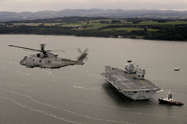 Aircraft carrier HMS Queen Elizabeth sails for first time Royal Navy UK 1