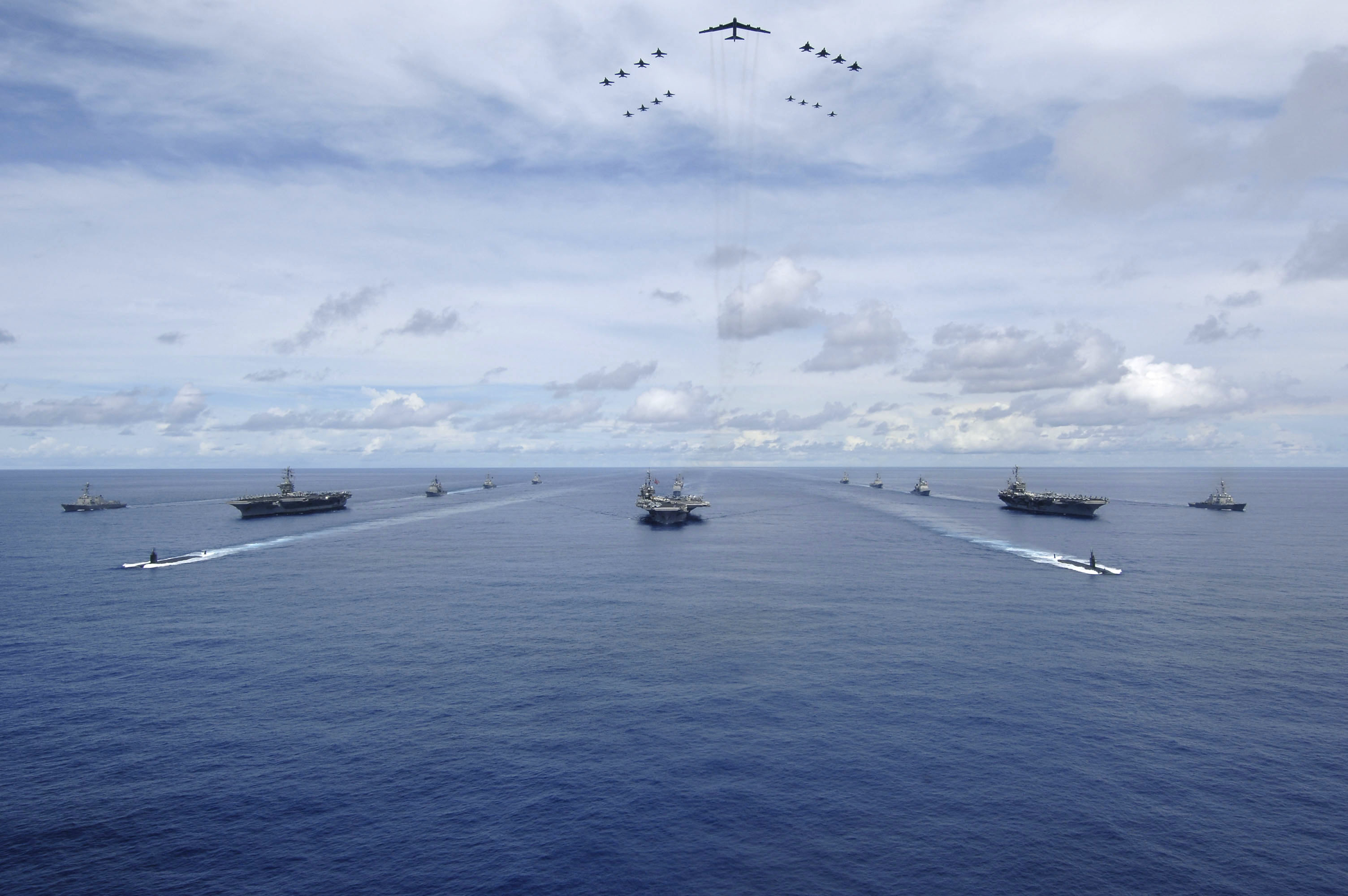 Three US Navy Carrier Strike Groups CSG Pacific