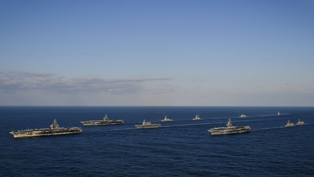 Three US Navy Carrier Strike Groups Transiting Western Pacific JMSDF Ships 1