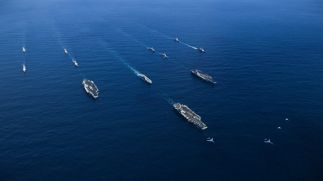 Three US Navy Carrier Strike Groups Transiting Western Pacific JMSDF Ships 2
