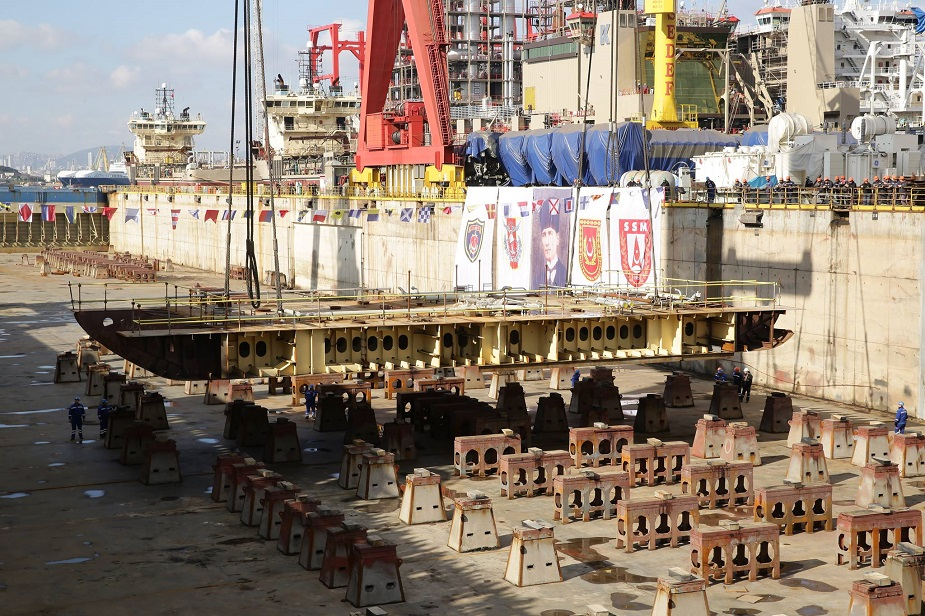 Keel Laying of Future Turkish Navy LHD TCG Anadolu