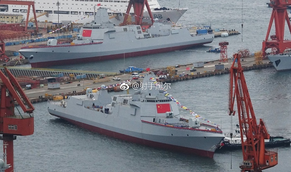 China launched simultaneously two Type 055 guided-missile destroyers at a Shipyard in Dalian on July, 3, 2018.