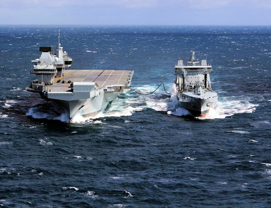 Royal Navys Aircraft Carrier HMS Queen Elizabeth Carried Out her first UNREP