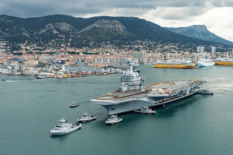 French Aircraft Carrier Out of Dry Dock Refit Work Continues Afloat 1