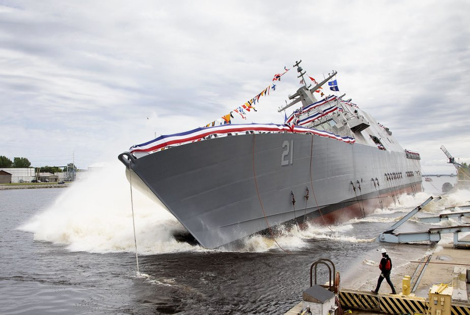 U.S. Navy christened and launched LCS USS Minneapolis Saint Paul