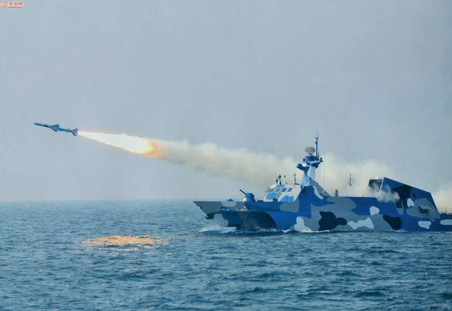Chinese Navy conducts live fire drills by Type 022 stealth missile boats
