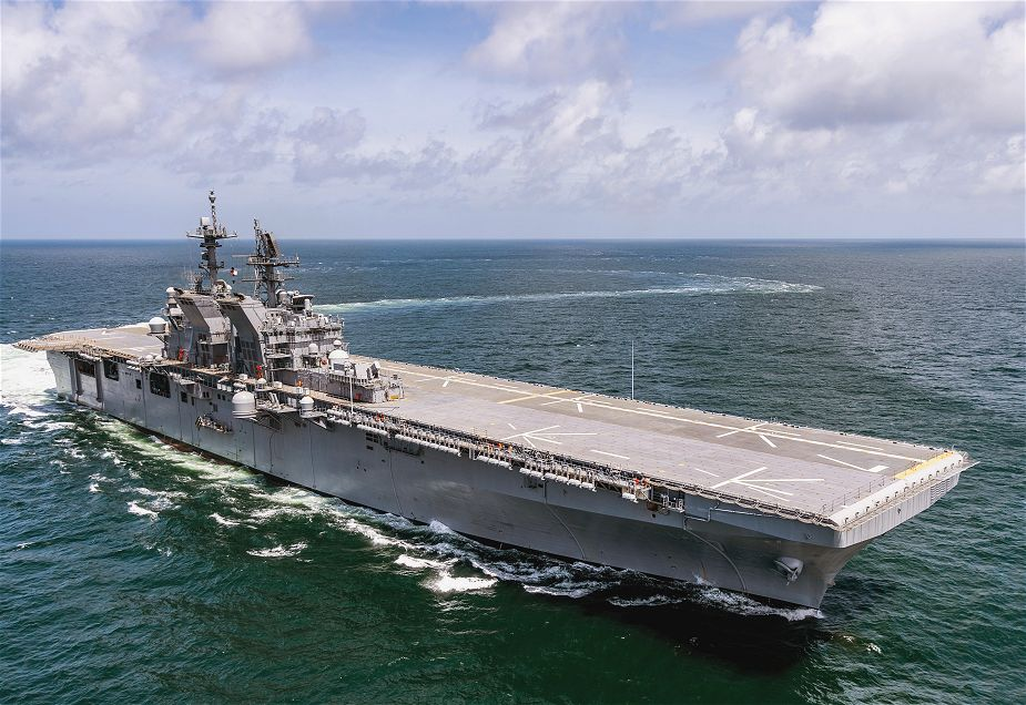 Huntington Ingalls Industries has delivered amphibious assault ship Tripoli LHA 7 to U.S. Navy 925 001