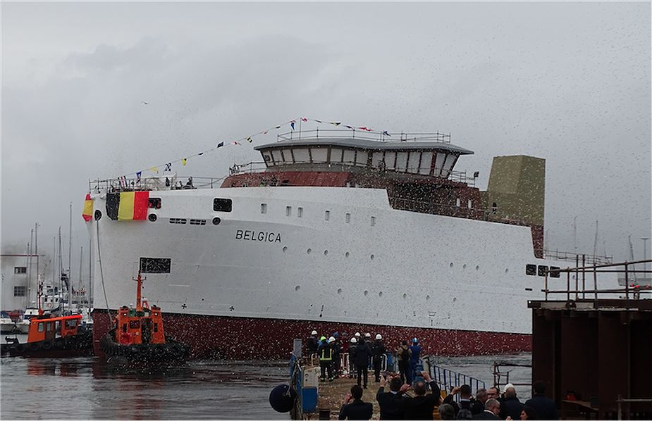 Launching of new research vessel Belgica for Belgian navy at Freire shipyard in Spain 925 001