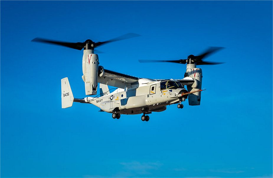 U.S. Navy has received the first CMV 22B Osprey tiltrotor aircraft built by Bell Textron 925 001