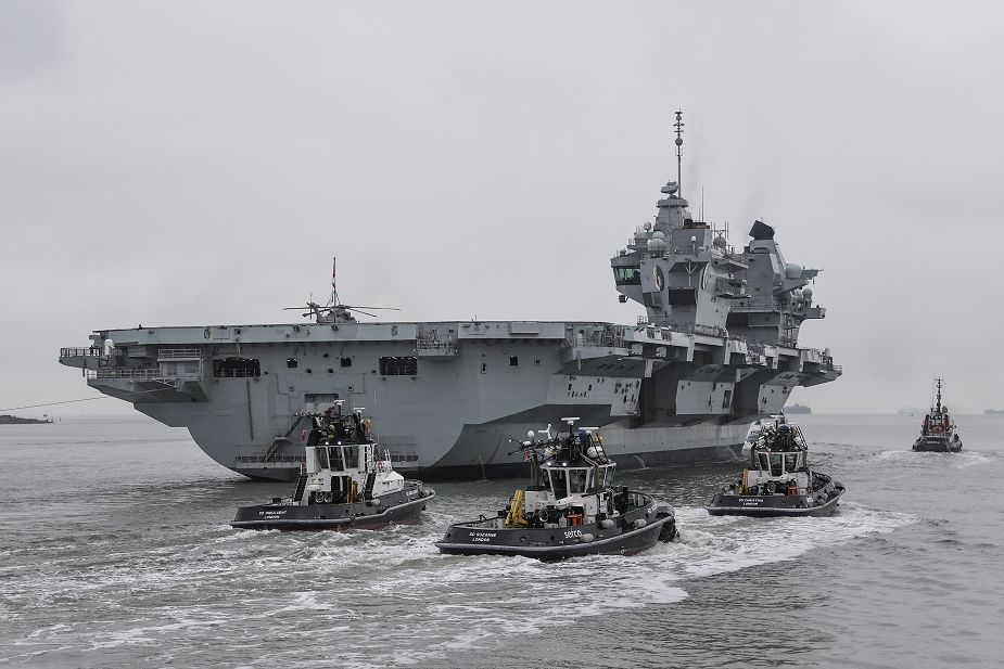 British Navy aircraft carrier HMS Queen Elizabeth sails for F 35B jet trials in UK waters 925 001