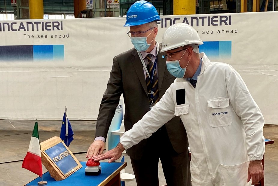 First Steel Cutting Ceremony for the Fifth Italian Navy Multipurpose Patrol Ship PPA 925 002