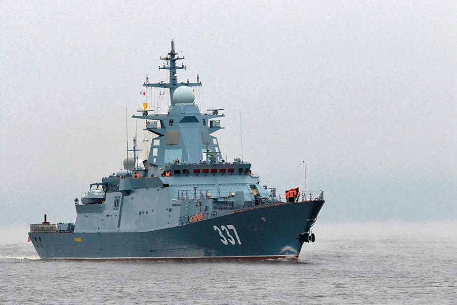 Russian Navy Gremyashchy corvette of project 20385 acceptance trials with naval aviation 925 001