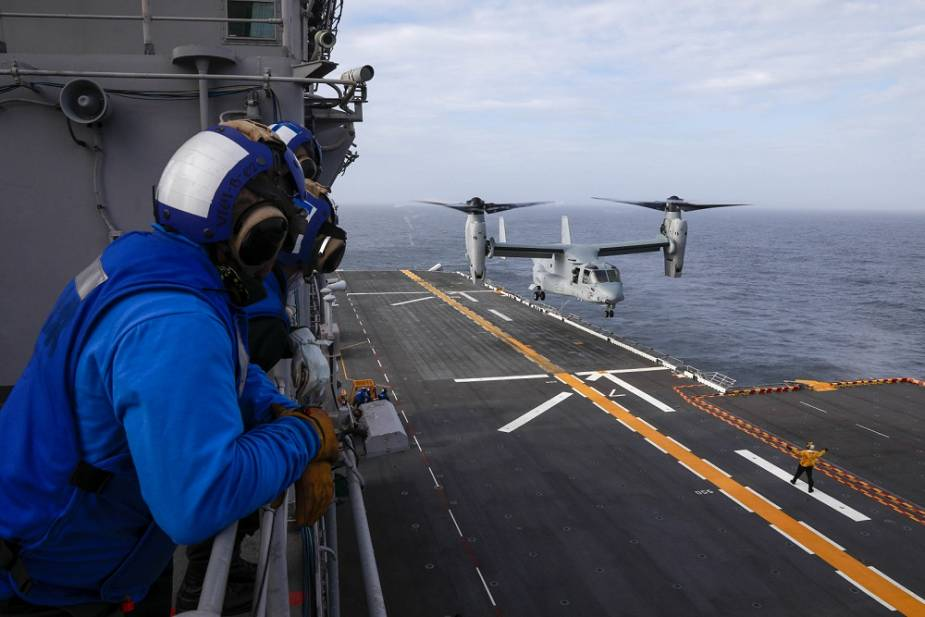 US Navy USS Wasp LHD 1 conducts flight operations on sea with MV 22 Osprey tiltrotor aircraft 925 001.