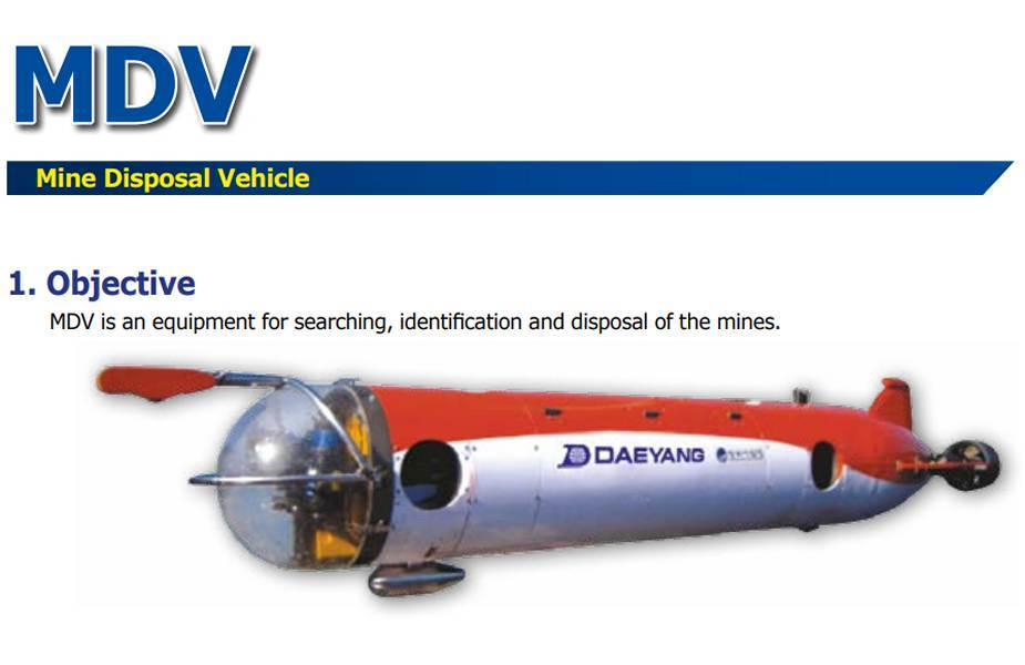 South Korea Navy deploys new underwater robot Mine Disposal Vehicle MDV