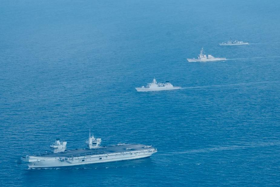 British Navy HMS Queen Elizabeth Carrier Strike Group conducts naval exercise with Singapore Navy