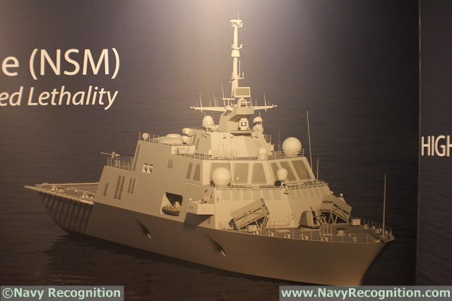 Freedom class LCS image with 8x NSM as seen on Kongsberg's booth during SNA 2016.