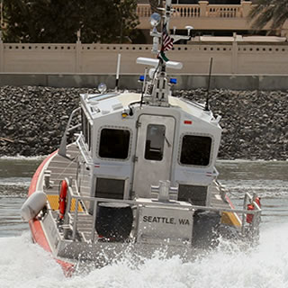 Kvichak Marine's Response Boat Medium (RB-M) is a 13.7 meter fast patrol boat operated by the US Coast Guard for Maritime Security, Homeland Security and SAR missions. It is capable of speeds in excess of 40 knots and is self-righting in all conditions.