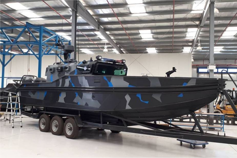 Streit Group Triton 850 RIB Armored Boat in naval live demonstration DSEI 2019 defense exhibition London UK 925 002